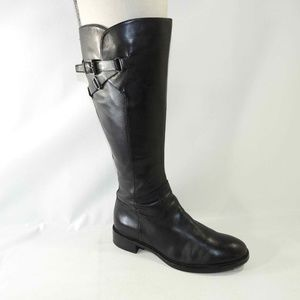 Ecco Size 7.5 Black Tall Boots Womens C3B E15